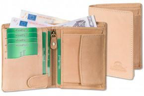 Woodland® - Hochwertige Lederbörse mit dem Protecto® RFID/NFC-Blocker Schutz im Hochformat aus naturbelassenem Büffelleder in Creme