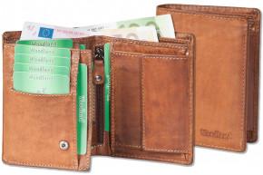 Woodland® Riegelgeldbörse im Hochformat aus OIL-PULL UP Rindsleder