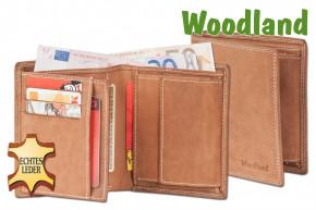 Woodland® Geldbörse im Hochformat aus naturbelassenem, weichem Büffelleder in Cognac