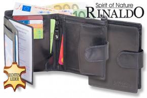 Rinaldo - Hochformat Ledergeldbörse mit Außenriegel aus glattem, naturbelassenem Rindsleder in Schwarz