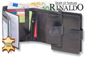 Rinaldo - Damen-Geldbörse mit Außenriegel aus naturbelassenem, glattem Rindsleder in Schwarz