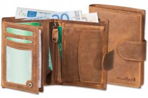 Woodland® Damen-Riegelbörse aus ölgewaschenem Rindsleder im Vintage-Look in Cognac