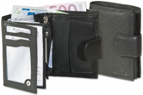 Platino - Women's wallet with outer tie made from the finest leather with first-class quality in black