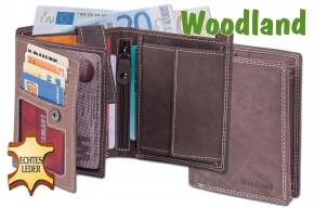 Woodland® Hochformat Riegelbörse aus weichem, naturbelassenem Büffelleder in Dunkelbraun/Taupe