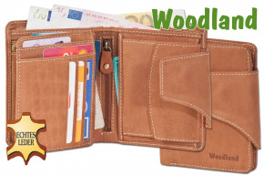 Woodland® Universal Modern wallet with a large outdoor bar made from soft, untreated buff-leather leather