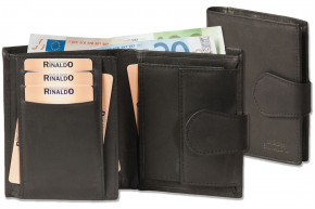 Rinaldo® Portrait wallet with inside loop made from natural, flat leather in black
