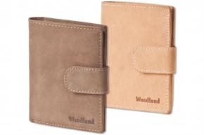 Woodland® Moderne Universal-Geldbörse mit Außenriegel aus weichem, naturbelassenem Büffelleder