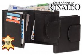 Rinaldo® Damen-Lederbörse mit breitem Außenriegel aus naturbelassenem, glattem Rindsleder in Schwarz