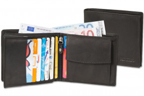 Rinaldo® Horizontal wallet with lots of credit card slots in natural, smooth leather with black