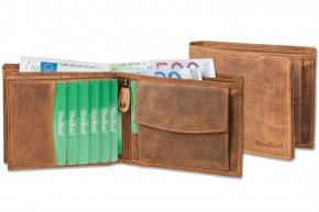 Woodland® Querformatbörse mit Platz für 11 Kreditkarten aus ölgewaschenem Rindsleder im Vintage-Look/Cognac