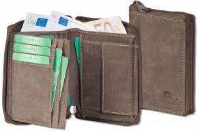 Woodland® Universalbörse mit RFID/ NFC Blocker und umlaufendem Reißverschluss aus weichem, naturbelassenem Büffelleder in Dunkelbraun/Taupe