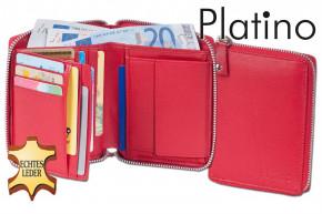 Platino - Damenbörse mit umlaufenden Metall-Reißverschluss aus feinstem Rindsleder in First-Class Qualität in Rot