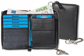 Reißverschluss-Geldbörse einschl. beiliegender Metallkette aus feinem Rind-Nappaleder in Schwarz
