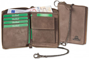 Reißverschluss-Geldbörse einschl. beiliegender Metallkette aus naturbelassenem Büffelleder in Dunkelbraun/Taupe