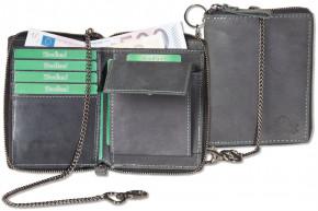 Reißverschluss-Geldbörse mit Metallkette aus naturbelassenem Büffelleder in Anthrazit
