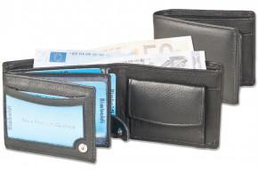 Rimbaldi® Kleine Riegelgeldbörsen im Querformat aus weichem Rindsleder in Schwarz