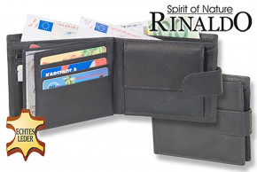 Rinaldo® Querformat Riegelbörse aus glattem, naturbelassenem Rindsleder in Schwarz