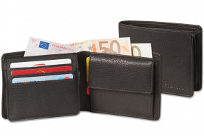 Platino - bolt wallet in horizontal format from the finest leather with first-class quality in black