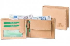 Woodland® Riegelgeldbörse im Querformat mit dem Protecto® RFID/NFC-Blocker Schutz aus naturbelassenem, weichem Büffelleder in Hellbraun