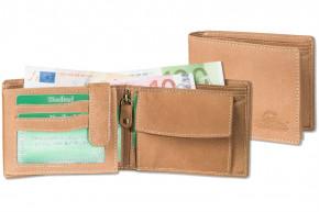 Woodland® Hochwertige Lederbörse mit dem Protecto® RFID/NFC-Blocker Schutz im Querformat aus naturbelassenem Büffelleder in COGNAC