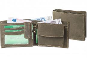 Woodland® Riegelgeldbörse im Querformat aus naturbelassenem Büffelleder in Dunkelbraun/Taupe