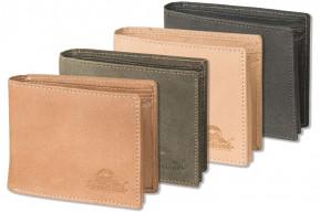 Woodland® Riegelgeldbörse mit dem Protecto® RFID-Blocker Schutz im Querformat aus naturbelassenem, weichem Büffelleder