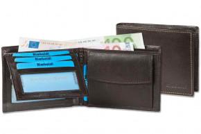 Rimbaldi - Riegelgeldbörse im Querformat aus Rind-Nappaleder in Dunkelbraun