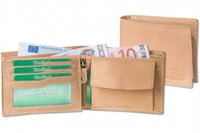 Woodland® Querformatbörse mit vielen Kreditkartenfächer aus weichem, naturbelassenem Büffelleder in Cognac