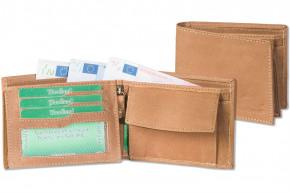 Woodland® - Querformatbörse mit dem Protecto® RFID-Blocker Schutz aus weichem, naturbelassenen Büffelleder in Cognac