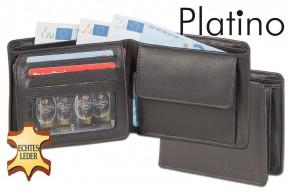 Platino - Flache Querformatbörse aus feinstem Rindsleder in First-Class Qualität in Schwarz