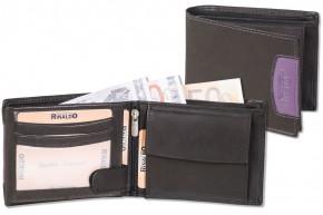 Rinaldo® Querformat Riegelbörse mit RFID/ NFC Blocker aus glattem Rindsleder in Schwarz mit  Seitenstreifen in Aubergine