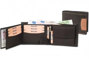 Rinaldo® Querformat Riegelbörse aus glattem, naturbelassenem Rindsleder in Schwarz mit braunem Seitenstreifen