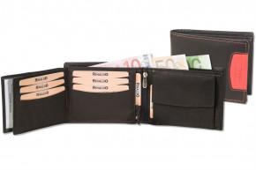 Rinaldo® Querformat Riegelbörse mit Protecto® RFID-Blocker Schutz aus glattem, naturbelassenem Rindsleder in Schwarz mit Seitenstreifen in Orange