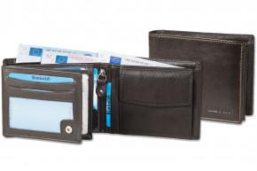 Rimbaldi® Riegelgeldbörse im Querformat aus Rind-Nappaleder in Dunkelbraun