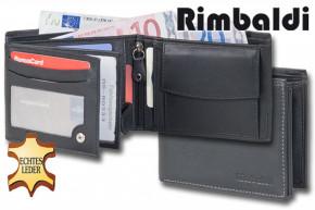 Rimbaldi® Riegelgeldbörse im Querformat mit dunkelgrauer Doppelnaht aus feinem, hochwertigem Nappaleder in Schwarz