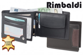 Rimbaldi® - Riegelgeldbörse im Querformat aus feinem Rind-Nappaleder in Schwarz mit brauner Applikation