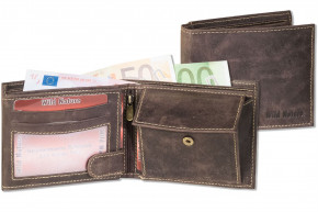 Wild Nature® Wallet in landscape from natural lbuff-eather in the color of dark-nature