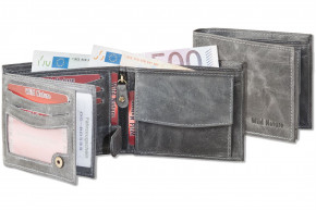 Wild Nature® Wallet in landscape from natural lbuff-eather in the color of anthracite/vintage