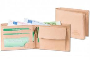 Woodland® Riegelgeldbörse im Querformat mit dem Protecto® RFID-Blocker Schutz aus naturbelassenem Büffelleder in Creme
