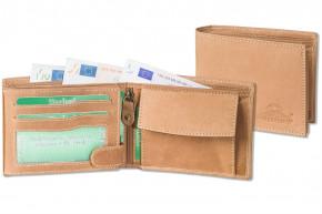 Woodland - Riegelgeldbörse im Querformat mit dem Protecto® RFID-Blocker Schutz aus naturbelassenem Büffelleder im in Cognac