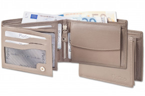 Platino - bolt wallet in horizontal format from the finest leather with first-class quality in taupe