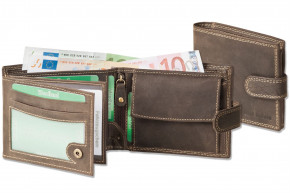 Wild Nature® Wallet in landscape from natural lbuff-leather in dark-brown