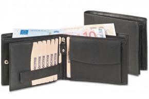 Rinaldo® Querformat Riegelbörse mit Platz für 12 Kreditkarten aus glattem, naturbelassenem Rindsleder in Schwarz