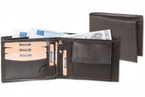 Rinaldo® Querformat Riegelbörse mit dem Protecto® RFID/NFC-Blocker Schutz aus weichem Rinds-Nappaleder in Dunkelbraun
