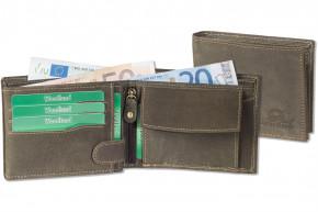 Woodland® - Lederbörse mit dem Protecto® RFID-Blocker Schutz im Querformat aus naturbelassenem Büffelleder in Dunkelbraun/Taupe