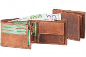 Woodland® Riegelgeldbörse im Querformat mit naturbelassenem Rindsleder im speziellen Vintage-Look in Braun