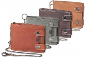 Woodland® - Biker leather wallet in landscape format with long chain, made from soft, untreated buff-leather
