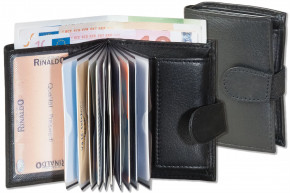 Rinaldo® Super-Compact purse with XXL credit card pockets for 11 cards made from cow nappa-leather