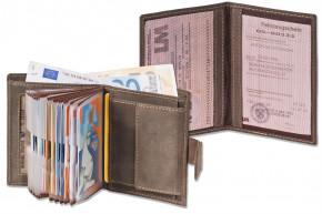 Woodland® Super-Kompakte Geldbörse mit XXL-Kreditkartentaschen für 18 Karten aus naturbelassenem Büffelleder+ KFZ-Scheinetui in Dunkelbraun/Taupe