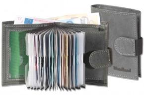 Woodstone® - Super-Kompakte Geldbörse mit XXL-Kreditkartentaschen für 18 Karten aus naturbelassenem Büffelleder in Anthrazit